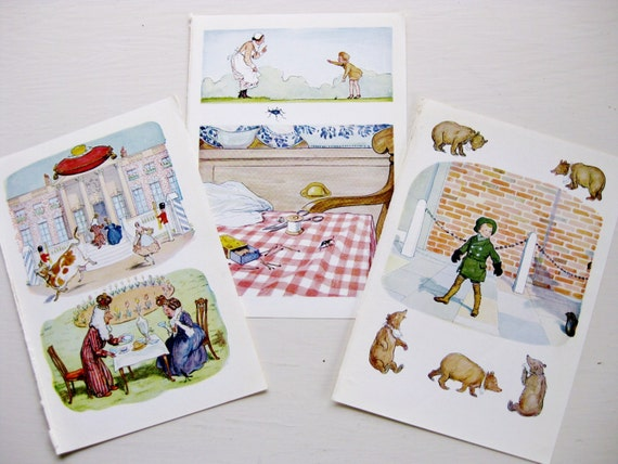 """Three Ernest Shepard color plates / illustrations from """"The Christopher Robin Verses"""" 1957."""