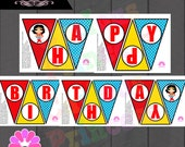 WONDER girl superhero happy birthday banner PRINTABLE digital file woman super hero girl girly