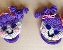 Pair of hair ties with Lalaloopsy inspired crochet dolls twistband elastique ponytail holders scrunchie ribbon