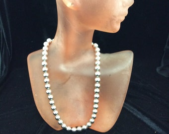 Vintage Silver Tone Plastic Beaded Necklace
