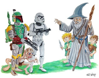 Not the Hobbits you're looking for -- 8x10 Art Print