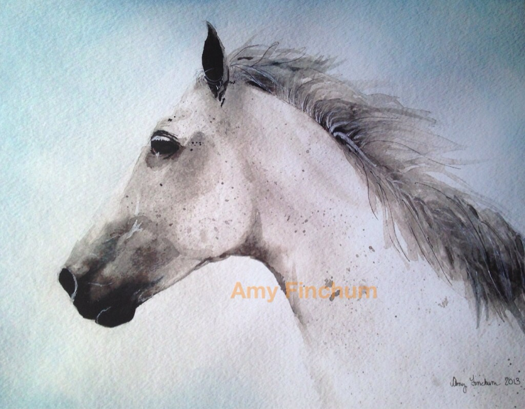 Silver Horse Print Watercolor Horse White Horse Rustic