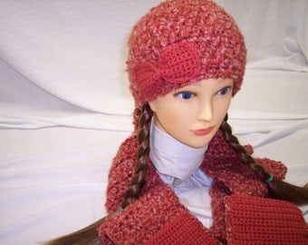 Woman's Crocheted Pocket Scarf and Beanie Set