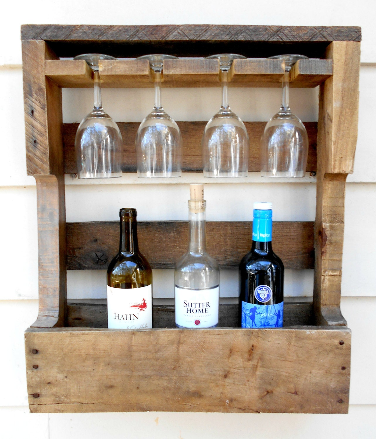 rustic wooden wine rack pallet wine rack by robsrusticcreations. Black Bedroom Furniture Sets. Home Design Ideas