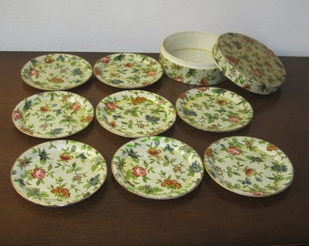 Set of Eight Paper Mache lovely Floral  Coasters in its own round paper Mache box.