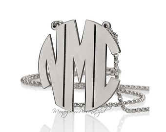Block Monogram Necklace -  1.2 inch / 3cm 925 Sterling Silver - Personalized Monogram
