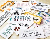 Custom Order Fabric Labels • Your Logo • Your Text • Various Sizes • 100% Cotton • Colorfast • 60-80 Labels Depending on Size • Uncut