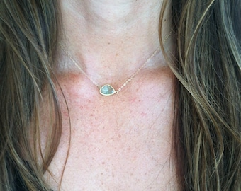 Bezel Set Necklace, Gold Fill Chain, Faceted Stone, Erinite