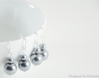 Pewter Gray Bridesmaid Earrings, grey pearl dangle earrings, grey bridesmaid jewelry, gray weddings