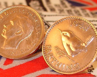 Boxed Pair Vintage British 1948 Farthing Coin Cufflinks Wedding 69th Birthday