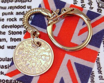 Lucky 1957 6d Sixpence English Coin Keyring Key Chain Fob Queen Elizabeth II