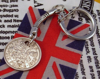 Lucky 1953 6d Sixpence English Coin Keyring Key Chain Fob Queen Elizabeth II