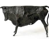 Picasso Hommage - Bronze Sculpture - Little Bull - Tribut to Cubist Era