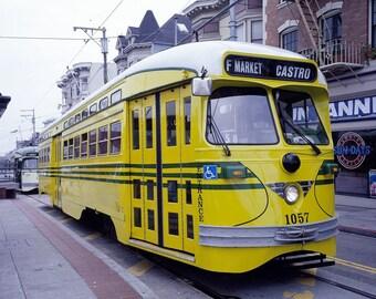 "1980s "" Yellow Cable Car, Castro District, San Francisco, CA"" Photo Print"