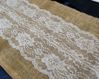 Burlap U0026 Lace Table Runner With A Variety Of Lace Color Options. Great For  Weddings