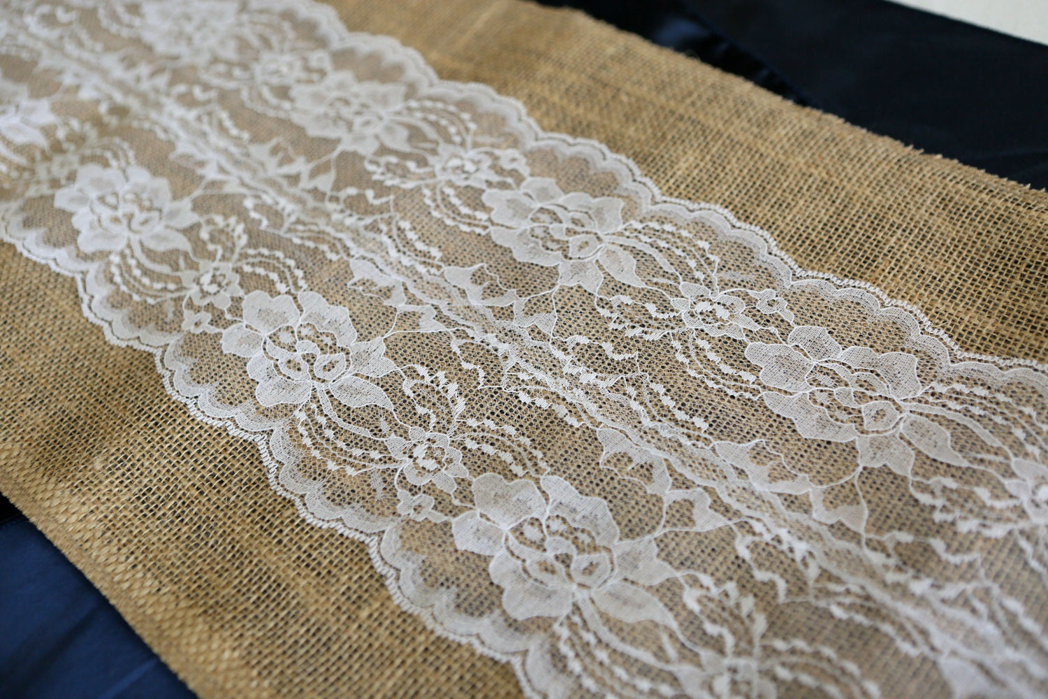 Burlap & Lace Table Runner with a Variety of Lace Color