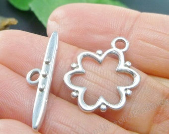 10 sets - Antique Silver Toggle Clasps - Flower Design - Ring and Bar - Jewelry Making Findings lot - C010