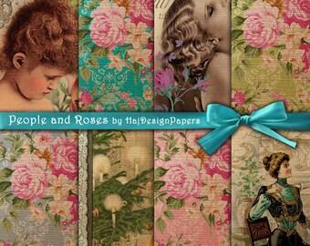 "Digital paper : ""People and Roses"" digital decoupage paper in vintage style, altered art, digital collage sheet, vintage printable"