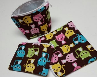 Reusable Sandwich Bag Set, Cats, Kittens, Gadget Bags, Cosmetic Bags, Small Toys Bags,Nylon Lining, Zipper Closure.