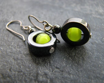 Vibrant Lime Green And Black Hematite Earrings With Titanium Nickle Free Hooks, Punk Rock Earrings, Neon Green Earrings, Polka Dot Earrings