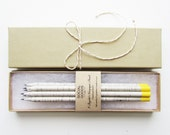 Recycled Pencil Set // Electric Yellow Paint Dipped // Back to School Gift