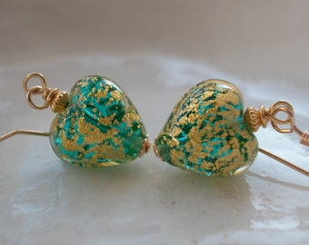 Venetian Murano  Green Glass Heart Earrings