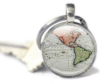 Map Keyring key chain, Antique Maps, world keyring, photo keyring, ancient maps, globe keyring blue keychain, travel gift, vintage