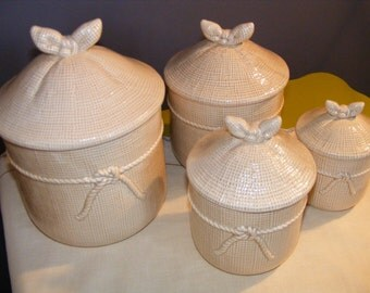 1970/80's Genin Trudeau Set of 4 Ceramic Jars