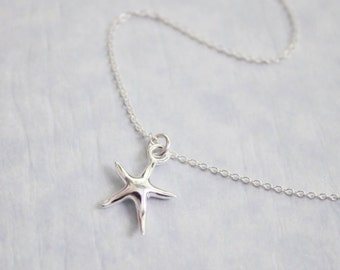 Tiny Sterling Silver Starfish Necklace