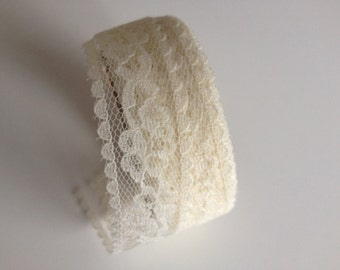 Sheer Ivory Lace Ribbon 7/8 inch x 4 yards, lace ribbon, ivory lace ribbon, ivory lace, 1 inch lace