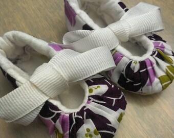 Baby Girl Flower Booties - Joel Dewberry Aviary II Lilac Designer Fabric