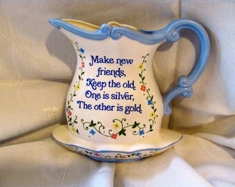 A Lorrie Design Vintage Blue and White WALL PLANTER PITCHER Made in Japan - Friends Saying on the Front