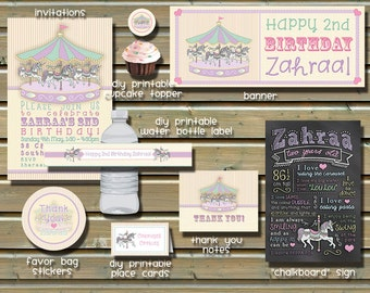 Carousel Birthday Party Package - Invitation, Thank You Notes, Chalkboard Sign, Stickers, etc.