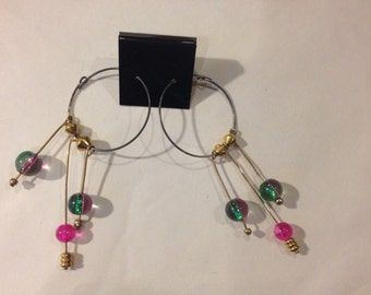 Pink, Iridescent Hoop Earrings