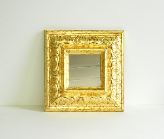 11x11decorative wall mirrordistressed gold leaf for Small gold framed mirrors