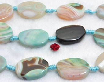 14 pcs of Tibetan Agate smooth oval beads in  14-16 width X 18-20mm length
