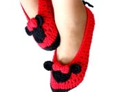 Crochet Pattern Women Shoes Miss Bow Mouse, Crochet Womens Slippers, Slippers Pattern, Crochet Slipper Pattern 5-10 sizes