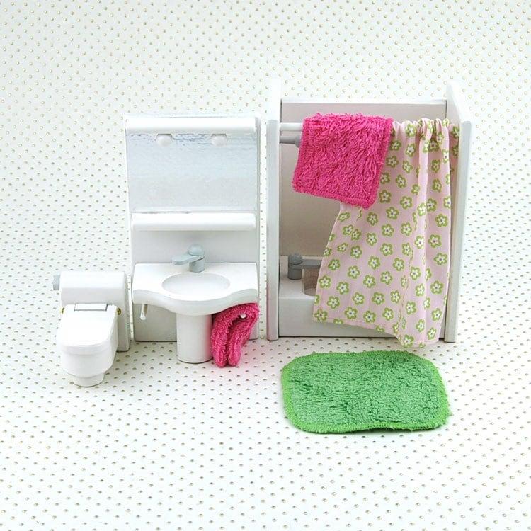 Wooden Dollhouse Furniture Bathroom