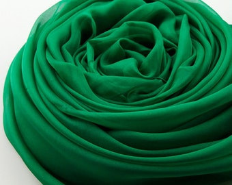 Green Silk Chiffon Scarf - Emerald Green Silk Scarf - Green Mulberry Silk Chiffon Scarf-2014-3