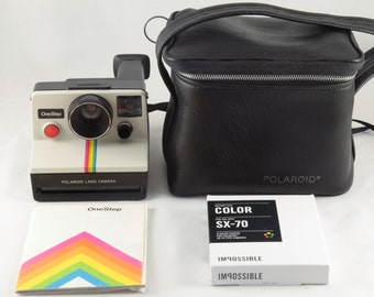 Vintage Polaroid OneStep SX-70 White Rainbow Stripe Instant Camera with Case and 1 Pack Impossible Project Color Film - Tested & Working