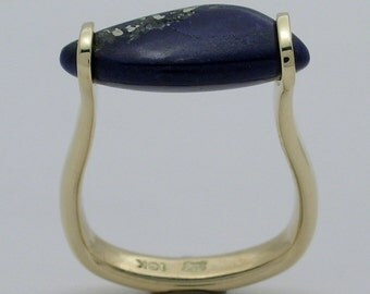 Hand Made and Hammer Forged 18k yellow gold Afghanistan Lapis Lazuli tension engagement ring Made in Canada