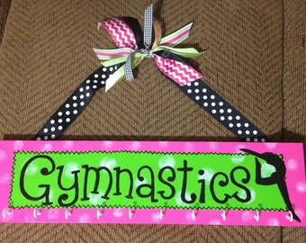 GYMNASTIC Medal Holder Plaque with Hooks