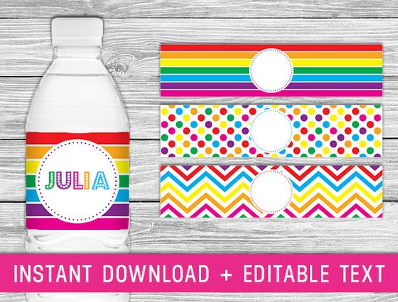 Printable Water Bottle Labels (Rainbow birthday decorations, rainbow ...