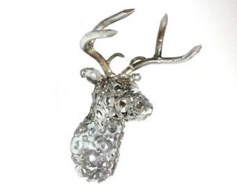 Metaldermy Mini, Mini Deer, Metal Sculpture,Faux Deer Head, Deer Taxidermy, Modern Decor, Modern Wall Decor, Vintage Industrial, Buck, Decor