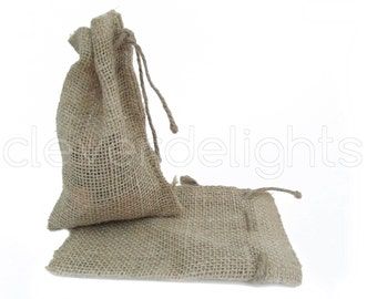 "100 - 4x6 Small Burlap Bags - Natural Rustic Burlap Bags with Natural Jute Drawstring for Showers Weddings Parties Receptions - 4"" x 6"""
