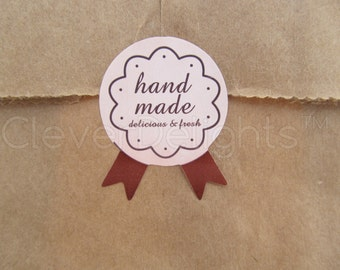 """120 Hand Made Stickers - Pink Medal Design - For Gift Tags, Goodie Bags, Baked Goods, Soaps, Candles - Handmade Labels - 1 1/16"""" x 1 3/8"""""""