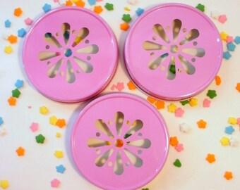 Pink Mason Jar Daisy Lids - set of 25