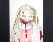 "Little Walker Girl Walking Dead 3x5"" Art Sketch Card"