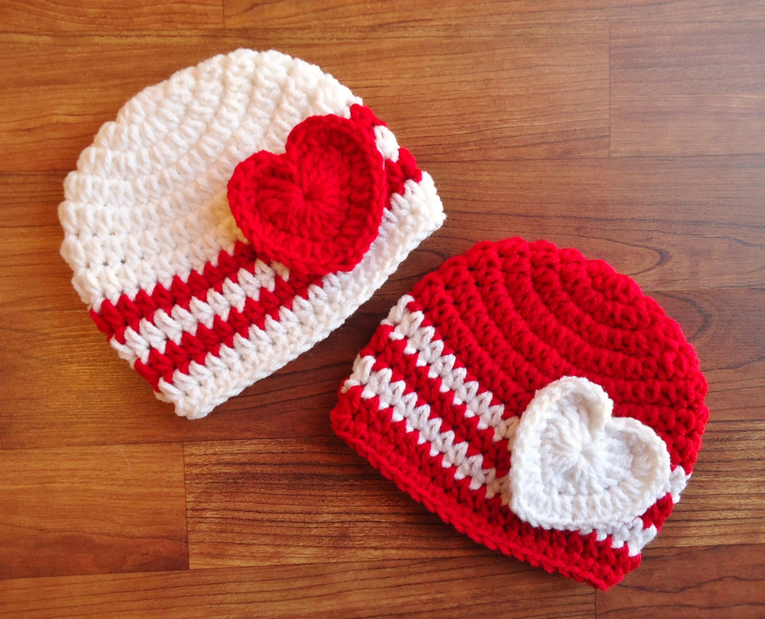 Crochet Valentine Hat : Crocheted Baby Twin Valentines Day Hat Set by KaraAndMollysKids