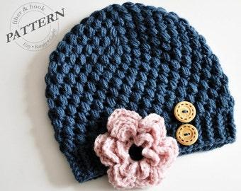 CROCHET PATTERN - Little Puffs Beanie with Detachable Flower (Newborn-Adult Sizes) pdf #014H, Flower Hat, Button Hat
